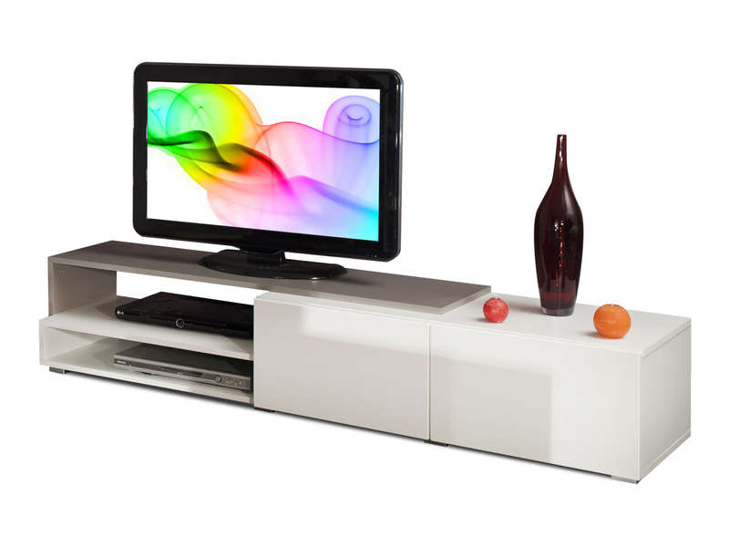 meuble tv rubis coloris blanc taupe conforama. Black Bedroom Furniture Sets. Home Design Ideas
