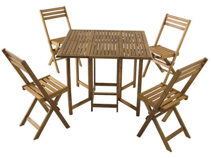 Ensemble Table 4 Chaises Pliantes Butterfly Coloris Acacia