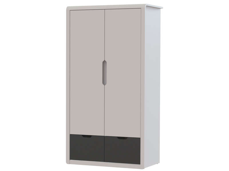 armoire 2 portes 2 tiroirs trix coloris gris et blanc. Black Bedroom Furniture Sets. Home Design Ideas