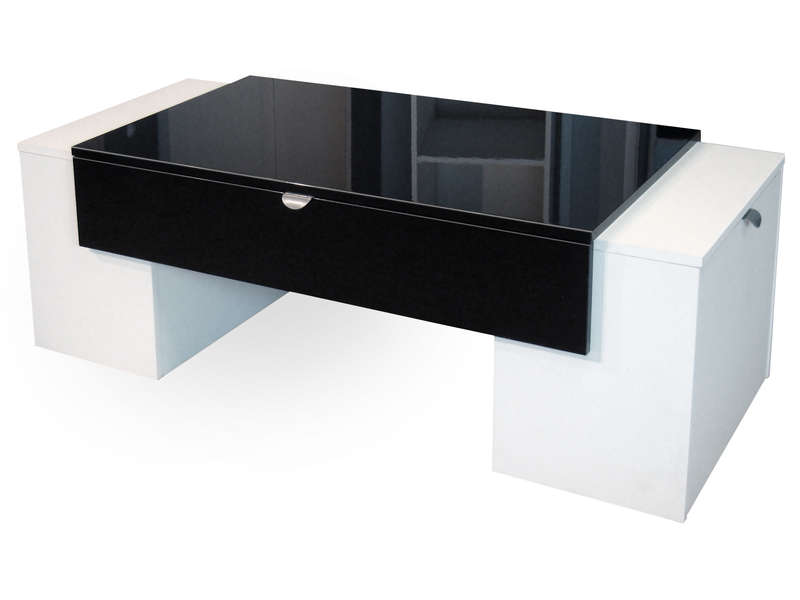 Table basse LUCKY Tcoloris noir/blanc - CONFORAMA