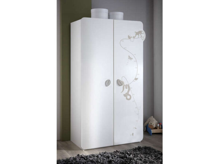 Armoire JUNGLE Coloris blanc décor jungle - CONFORAMA