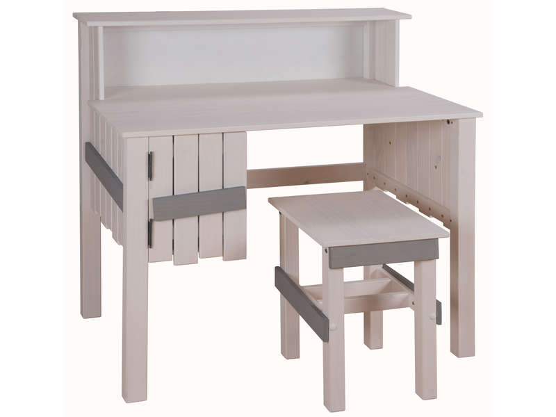 bureau bicolore tabouret amazone coloris blanc et gris conforama. Black Bedroom Furniture Sets. Home Design Ideas