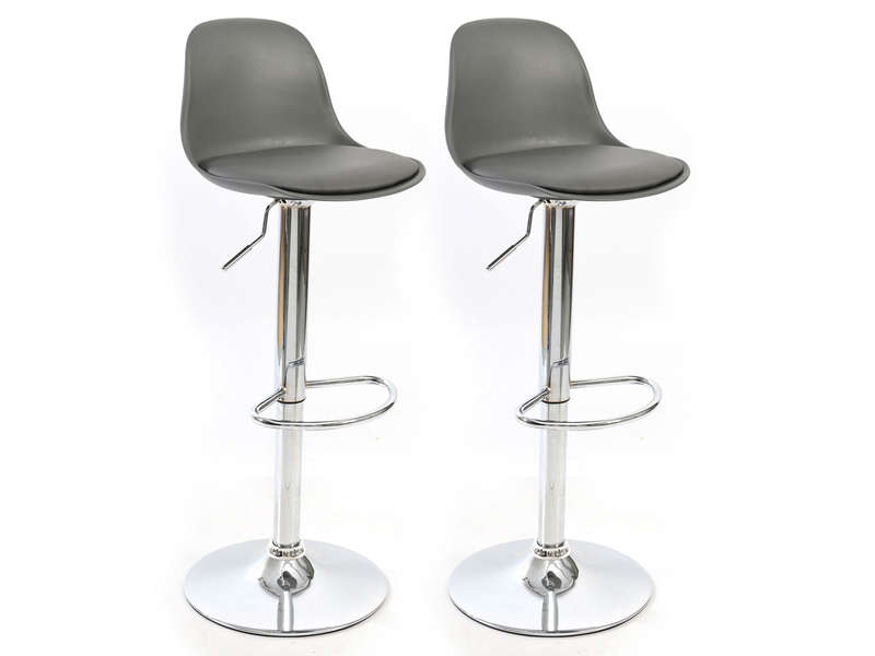 Lot de 2 tabourets de bar JOY coloris gris - CONFORAMA
