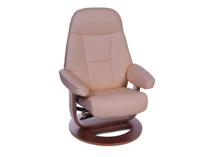 Fauteuil relaxation 100% cuir RICHMOND coloris taupe/cerisier - SEATSOFT