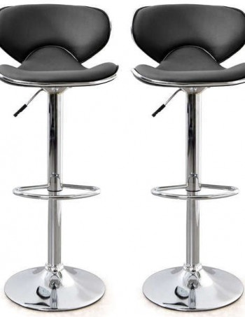 Lot de 2 tabourets de bar ARNO coloris noir - CONFORAMA