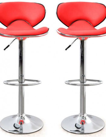 Lot de 2 tabourets de bar ARNO coloris rouge - CONFORAMA