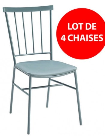 Lot de 4 chaises Coloris gris - CONFORAMA