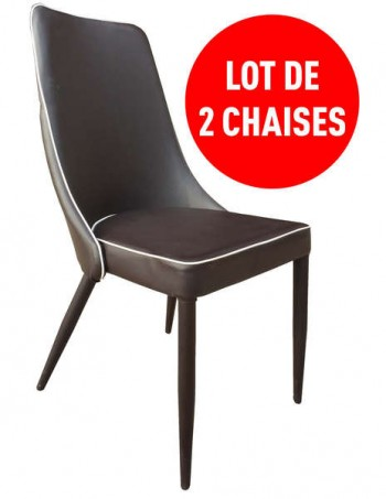Lot de 2 chaises MILANO coloris chocolat - CONFORAMA