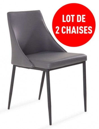 Lot de 2 chaises CALL coloris gris - CONFORAMA
