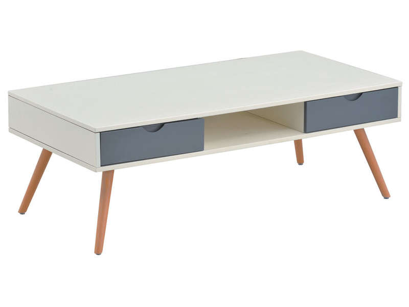 Table Basse 4 Tiroirs Kipo Coloris Blanc Gris Conforama