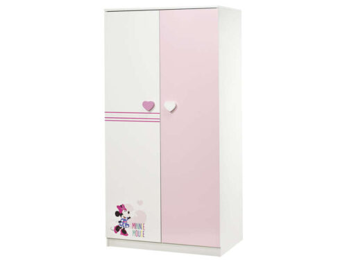 Armoire enfant 2 portes MINNIE coloris blanc/ rose - MINNIE