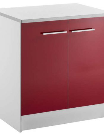 Meuble bas 80 cm 2 portes SPOON SHINY ROUGE - CONFORAMA