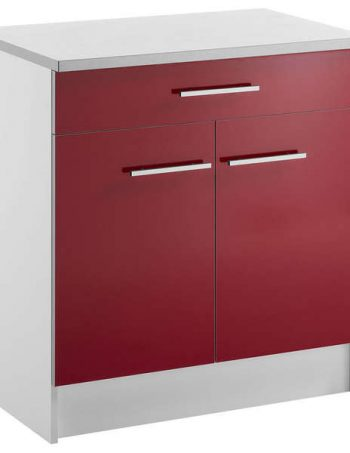Meuble bas 80 cm 1 tiroir + 2 portes SPOON SHINY ROUGE - CONFORAMA