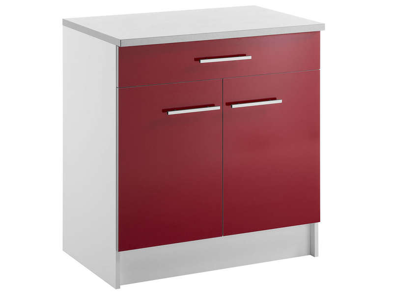 Meuble Bas 80 Cm 1 Tiroir 2 Portes Spoon Shiny Rouge Conforama