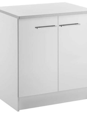 Meuble bas 80 cm 2 portes SPOON SHINY BLANC - CONFORAMA