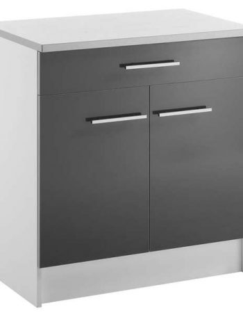 Meuble bas 80 cm 2 portes + 1 tiroir SPOON SHINY ANTHRACITE - CONFORAMA
