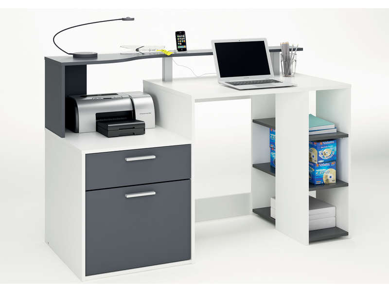 Bureau 140 cm oracle coloris blanc et gris conforama