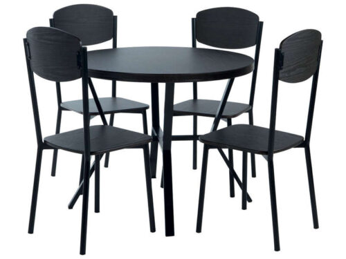 Ensemble table + 4 chaises CABESTAN coloris noir - CONFORAMA