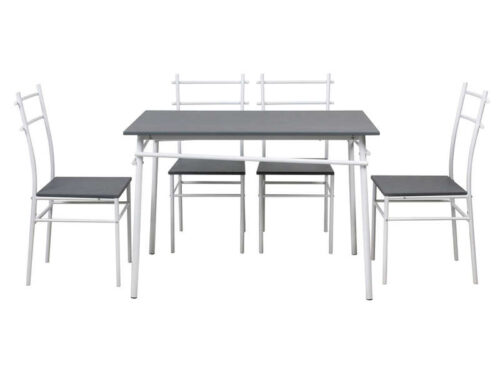 Ensemble table + 4 chaises KIOS coloris blanc/gris - CONFORAMA