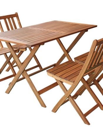 Ensemble table + 4 chaises de jardin en acacia massif BUTTERFLY - CONFORAMA