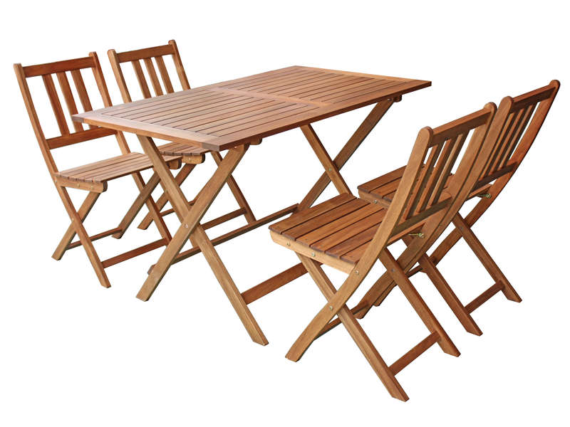 Ensemble Table 4 Chaises De Jardin En Acacia Massif Butterfly Conforama