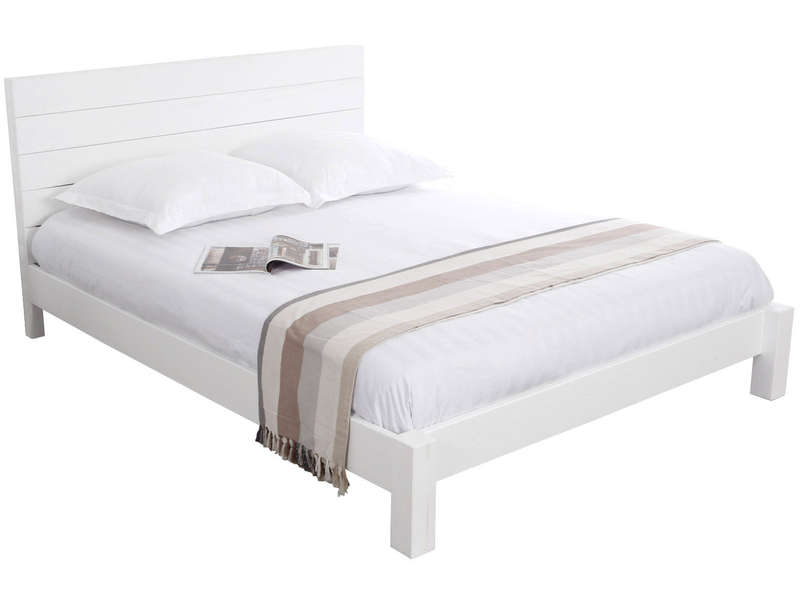 Lit adulte 140x190 cm ATLANTIQUE coloris blanc - CONFORAMA
