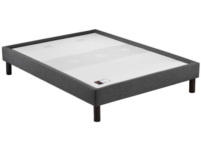 Sommier tapissier 140x190 cm EPEDA CUVETTE DECO coloris gris - EPEDA