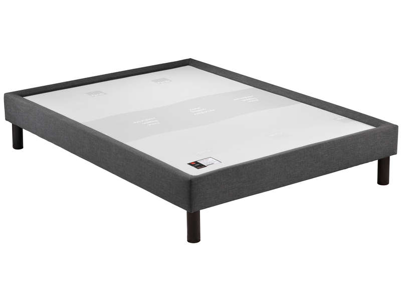 Sommier tapissier 140x200 cm EPEDA CUVETTE DECO coloris gris - EPEDA