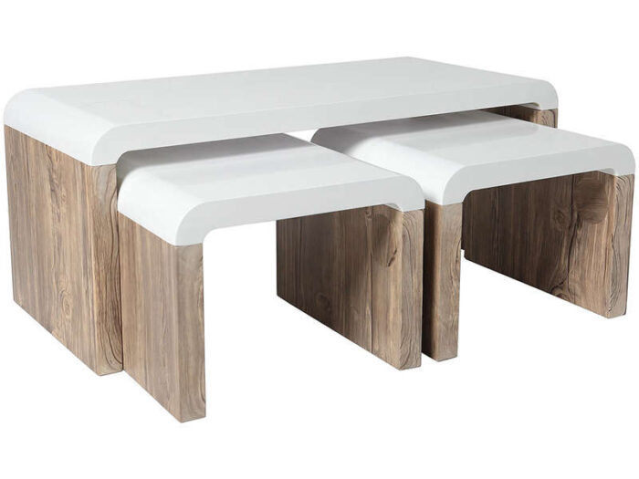 Table basse + 2 tabourets HAVANA - CONFORAMA