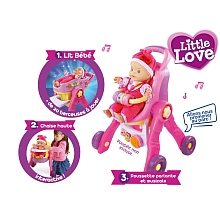 Poupon - Little Love - Ma Poussette 3 en 1 interactive - Vtech