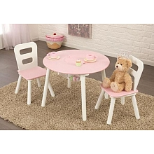 LDD Kidkraft - Ensemble table de rangement ronde + chaise - Blanc et rose - Kidkraft