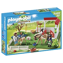 Playmobil - SuperSet Paddock avec chevaux - 6147 - PLAYMOBIL