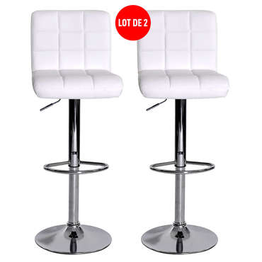 Lot de 2 tabourets de bar réglable avec assise rotative NALA coloris blanc -
