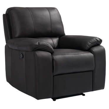Fauteuil relaxation manuel en cuir VICKY coloris chocolat -
