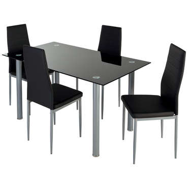 Ensemble table + 4 chaises FEATURING coloris noir -