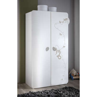 Armoire JUNGLE Coloris blanc décor jungle -