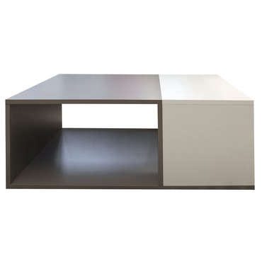 Table basse rectangulaire KUB coloris taupe/ blanc -