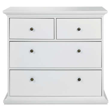 Commode 2+2 tiroirs HARLINGTON coloris blanc -