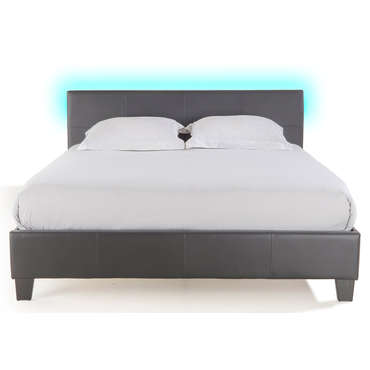 Lit adulte 140x190 cm avec led BLOOM LIGHT coloirs gris -