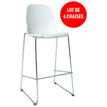 Lot de 4 tabourets de bar ADAN coloris blanc -