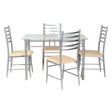 Ensemble table+ 4 chaises TUNA coloris gris -