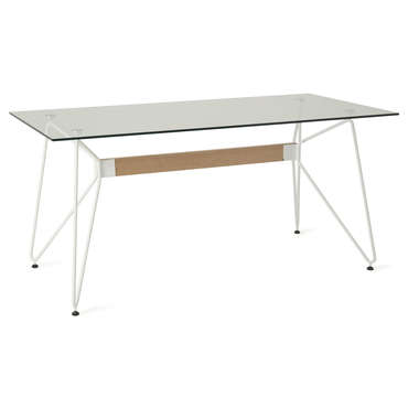 Table rectangulaire en verre 160 cm MELANY coloris blanc -
